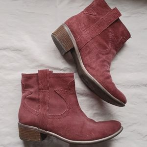 LB Burgundy suede short western look boot